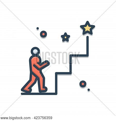 Color Illustration Icon For Enthusiasts Person Motivated Overexcited Success Achievement