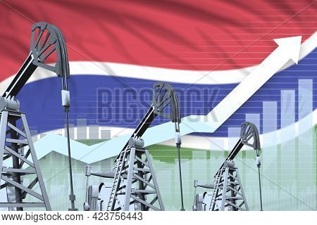 Gambia Oil Industry Concept, Industrial Illustration - Rising Up Chart On Gambia Flag Background. 3d