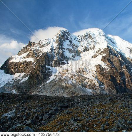 Evening Sunset View Of Mount Salkantay, Andes Mountains, Salcantay Trek In The Way To Machu Picchu,