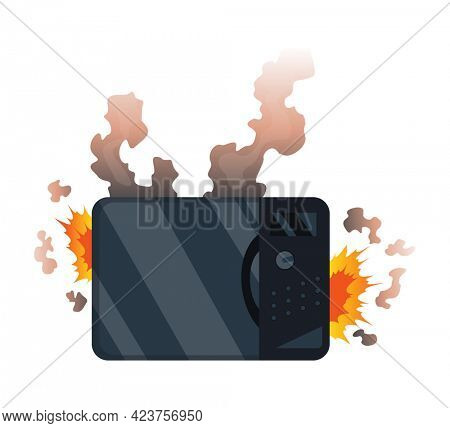 Broken home appliances. Damaged microwave. Domestic icon isolated on white. Burning electronics. Homeappliances or burnt electrical household equipment in fire