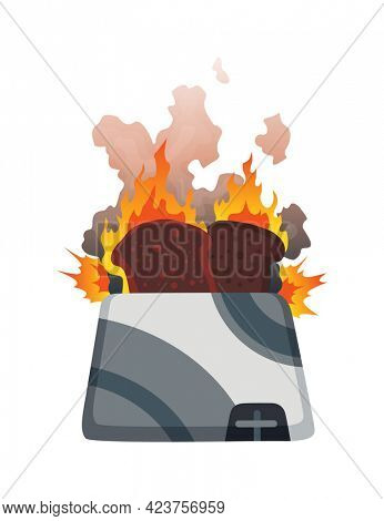 Broken home appliances. Damaged toaster. Domestic icon isolated on white. Burning electronic. Homeappliances or burnt electrical household equipment in fire