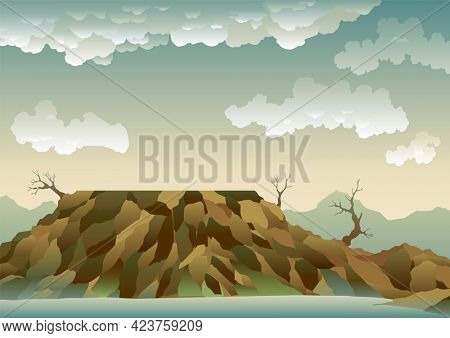 Landscape with ecological disaster. Polluted earth. Contaminated land with dead trees, polluted environment. Ecology problem concept in flat style
