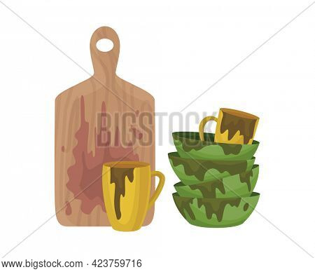 Dirty dishes plates and cups saucepan with remains fat stains. Cutting board spoons and sauce puddles ladle and cutlery. Stack of dirty kitchen utensil. Household and kitchenware concept