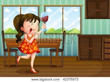 Abbildung eines Mädchens mit einem Glas Wein