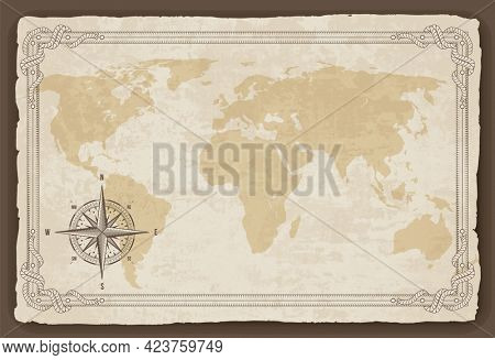 Old map frame with retro nautical compass on old paper texture. Hand drawn antique nautical old background. Wind rose for sea marine navigation. Vintage marine theme in