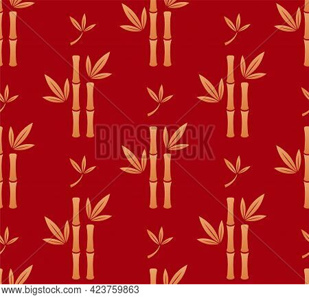 Chinese Bamboo Floral Seamless Vector Pattern. Bamboo Trees And Leafs Gold Silhouettes On Red Backgr
