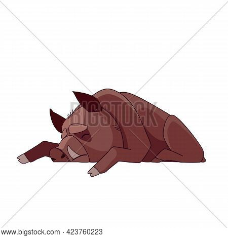 Wild Boar Dead Or Sleeping. Cartoon Character Of An Adult Mammal Animal. A Wild Forest Creature With