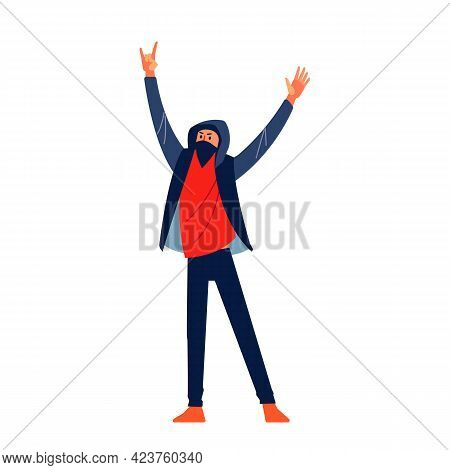 Protesting Man With Black Mask And Hood Marching In Protest, Screaming Angry, Protesting And Demandi