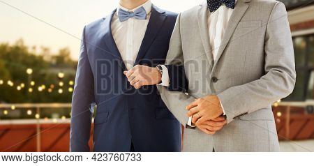 homosexuality, same-sex marriage and lgbt concept - close up of happy male gay couple holding hands on wedding over roof top party background