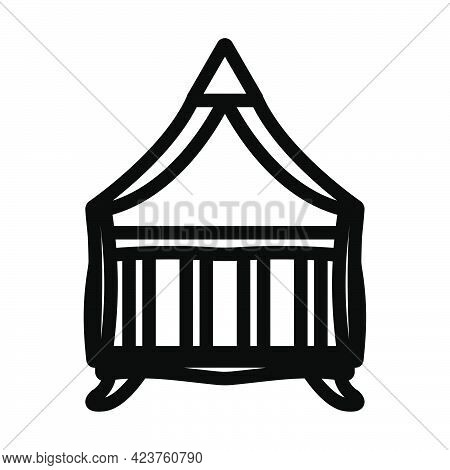 Crib With Canopy Icon. Bold Outline Design With Editable Stroke Width. Vector Illustration.