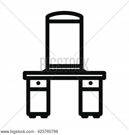 Dresser With Mirror Icon. Bold Outline Design With Editable Stroke Width. Vector Illustration.