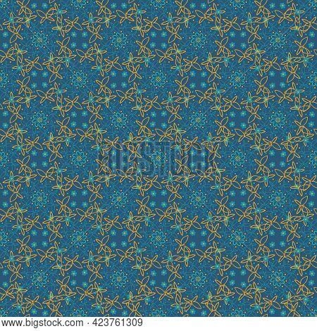 Little Blue Flowers And Yellow Butterflies Pattern
