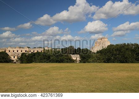 View Of The Quadrangle Of The Nuns And The Pyramid Of The Soothsayer In Uxmal. High Quality Photo