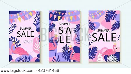 Hello Summer. Collection Of Abstract Background Designs, Summer Sale Template For Your Design. Creat