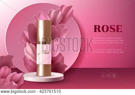 Design Advertising Poster For Cosmetic Product With Rose Petals For Catalog, Magazine. Cosmetic Pack