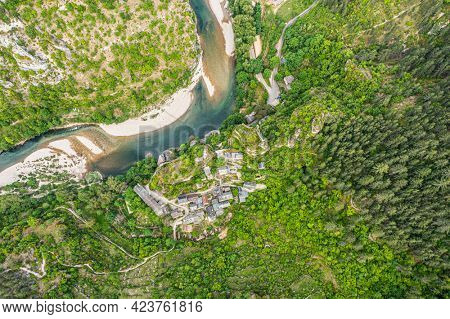 Small french Castelbouc village in the Gorges du Tarn in France
