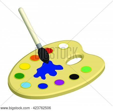Isometric Painter Palette With Multicolored Watercolors And Art Brush. Stationery For School And Cre
