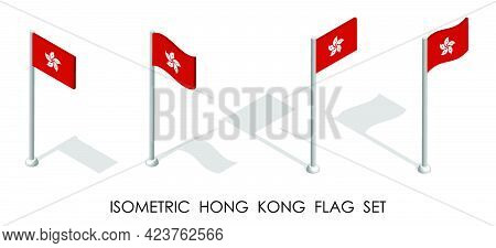 Isometric Flag Of Hong Kong In Static Position And In Motion On Flagpole. 3d Vector