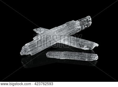 Menthol Crystals On Black Background, Closeup View