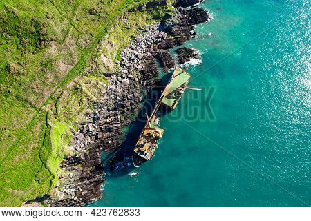 An Abandoned Ship Washed Onto Rocks Near Ballycotton In East Cork After Storm Dennis Hit Ireland