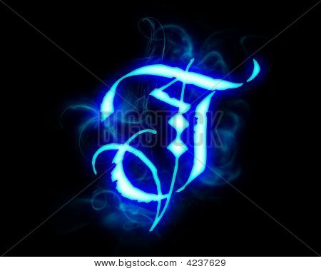 poster of Blue flame magic font over black background. Letter T