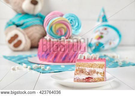 Piece Of Sponge Cake With Yoghurt Cream, Banana And Strawberry