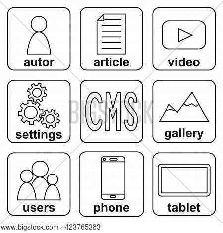 Black And White Multiplatform Cms Elements Infographic