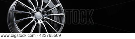 An Alloy Wheel Banner Fragment On A Black Background. Mockup For The Panorama Site Header