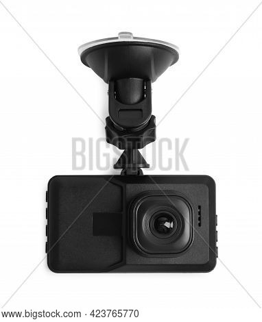 Modern Car Dashboard Camera With Suction Mount Isolated On White