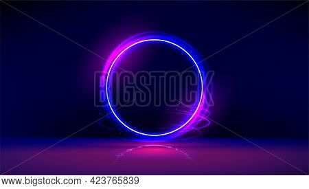 Dark Abstract Furistic Background With Circle Gate. Neon Gloving Ring In Dark Room. Round Light Fram