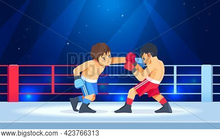 A Young Boxer Blocks A Punch In The Ring. Teenage Boys Begin To Train Their Boxing Skills In The Are