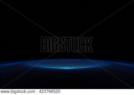 Abstract Futuristic Technology Cyber Space Blue Wave Background 3d Rendering Abstract, Background, T