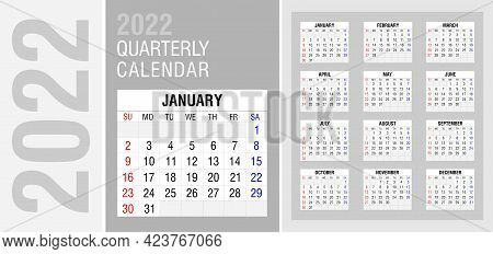 Quarterly Calendar For 2022 In English. Week Starts On Sunday. Calendar Grid For Each Month. Editabl