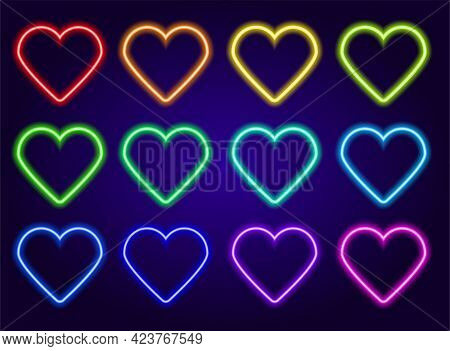 Neon Colored Hearts Set. Isolated Elements Glow In The Dark Line Of Red, Blue, Yellow, Green And Tur