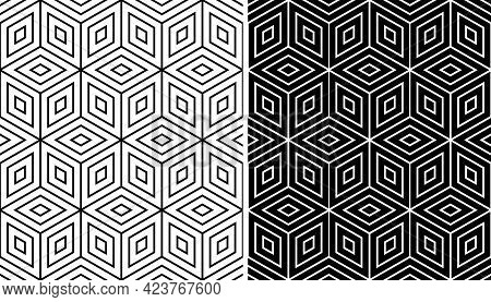 Seamless Op Art Patterns With 3d Illusion Effect. Vector Illustration.