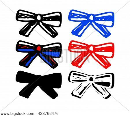 Vector Bow Tie Made Of A Striped Ribbon Of Red, White And Blue Color, Tied With A Bow. Hand-drawn Se