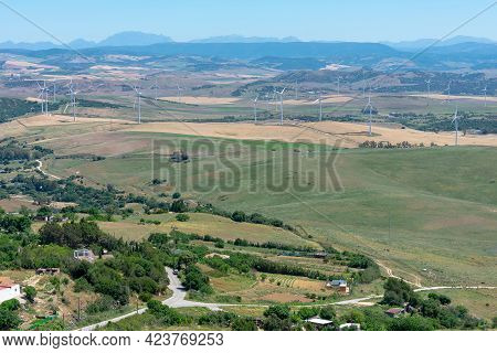 Fields Of The Province Of Cadiz With Windmills, Wind Farm. Andalusia. Spain. Europe.