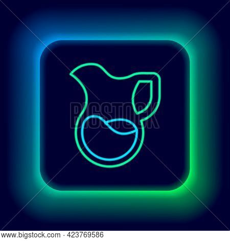 Glowing Neon Line Jug Glass With Milk Icon Isolated On Black Background. Kettle For Milk. Glass Deca