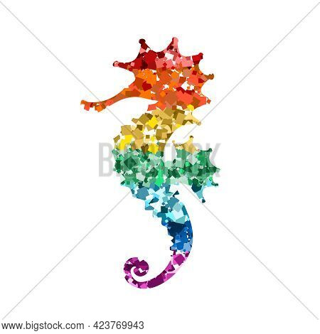 Glittering Seahorse Icons With Rainbow Colors Glitter Sequins On White For Valentine Day, Kids Desig