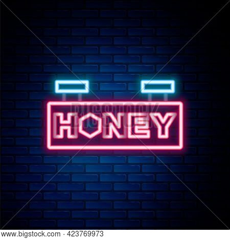 Glowing Neon Line Hanging Sign With Honeycomb Isolated On Brick Wall Background. Signboard Icon. Hon