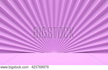 Pink Abstract Background With Embossed Wall Fan. 3d Rendering