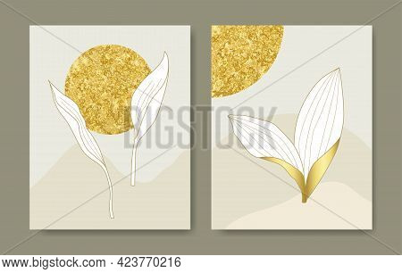 Luxury Cover Design Template. Tropical Line Arts Hand Draw Gold Exotic Flower And Leaves. Design For