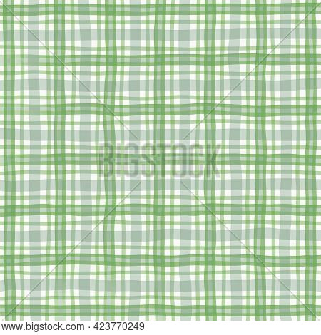 Green Gray Olive Vintage Checkered Background. Space For Graphic Design. Checkered Texture. Classic