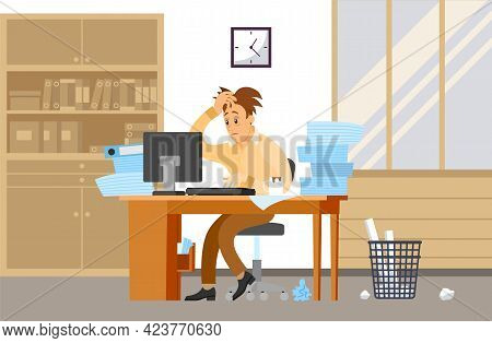 Male Office Employee Is Doing Paperwork To Deal With Deadlines. Tired Businessman In Office With Pap