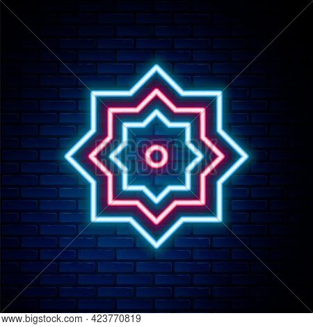 Glowing Neon Line Islamic Octagonal Star Ornament Icon Isolated On Brick Wall Background. Colorful O