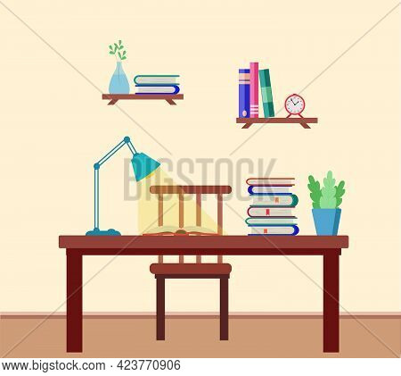Interior Of The Room With A Desk, Books, A Lamp, Shelves On The Wall With Textbooks, A Clock. Vector