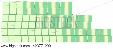 Large Stack Of Green Dollar Bills. Cash Bills As Symbol Of Wealth And Success. Money Stacked In Stai