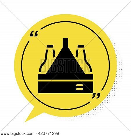 Black Pack Of Beer Bottles Icon Isolated On White Background. Case Crate Beer Box Sign. Yellow Speec
