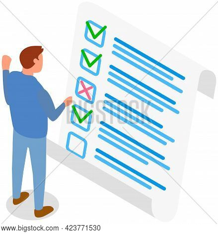 Man Is Checking Correctness Of Questionnaire. Person Near Paper Form Survey Isolated On White Backgr