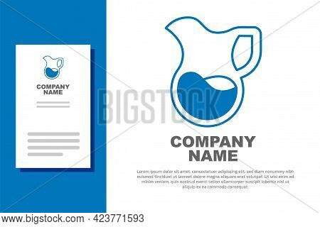 Blue Jug Glass With Milk Icon Isolated On White Background. Kettle For Milk. Glass Decanter With Dri